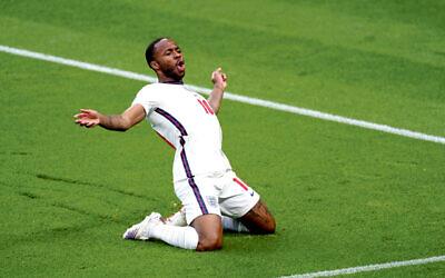 England's Raheem Sterling celebrates scoring at Wembley