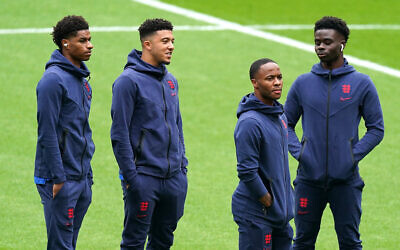 England's Marcus Rashford, Jadon Sancho, Raheem Sterling, and Bukayo Saka