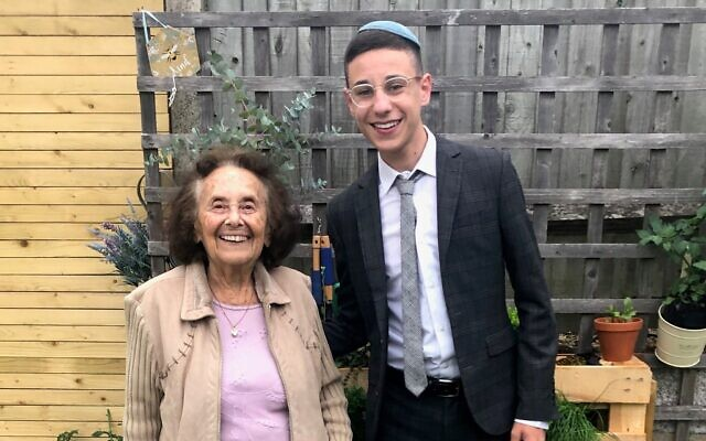 Dov Forman with his great-grandma Lily Ebert