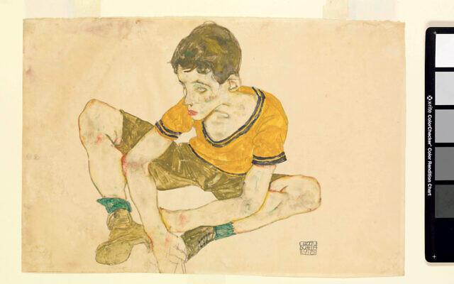 Egon Schiele's Young Boy Breaks Down is in the exhibit