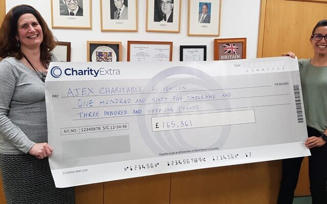 Fiona Palmer, AJEX, Chief Executive and Deborah Field, AJEX Campaign manager proudly holding the CharityExtra cheque from generous donors