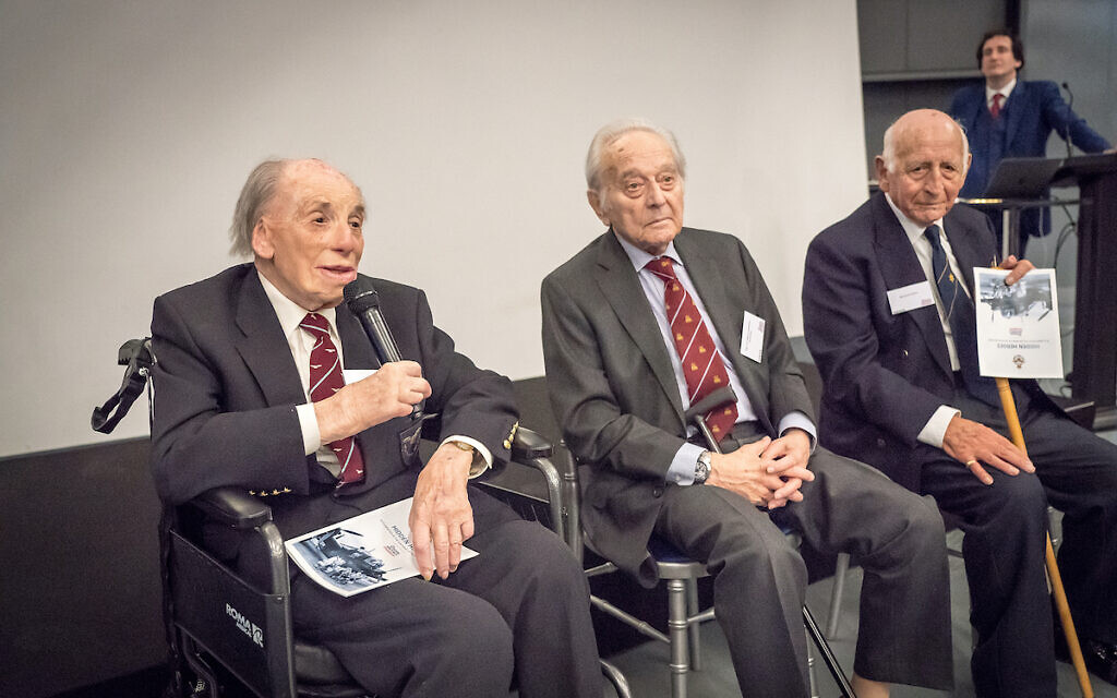 Lawrence 'Benny' Goodman (second left) at a Hidden Heroes event at the RAF Museum in London.  Photo: Richard Gray