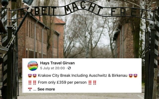 Auschwitz's infamous gate, and Hays Travel's trivial facebook post advertising a visit (Facebook post via the Jewish Telegraph)