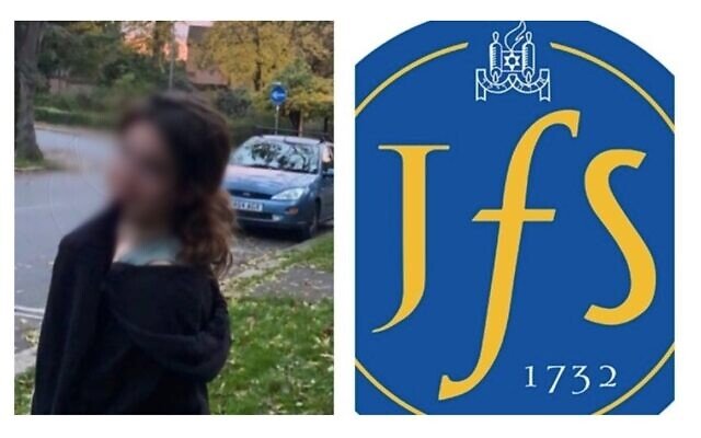Blurred picture of Mia Jenin from the petition launched in her honour, and the logo of JFS.