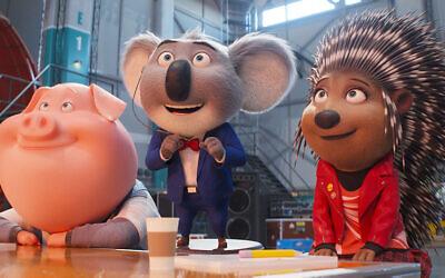 (from left) Pig Gunter (Nick Kroll), koala Buster Moon (Matthew McConaughey) and porcupine Ash (Scarlett Johansson) in Illumination's Sing 2, written and directed by Garth Jennings.