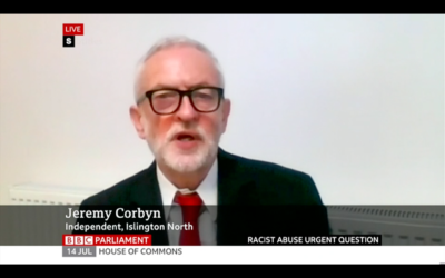 Jeremy Corbyn speaking in Parliament. asking about online racism