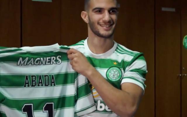 Screenshot from Twitter of Liel receiving his Celtic shirt