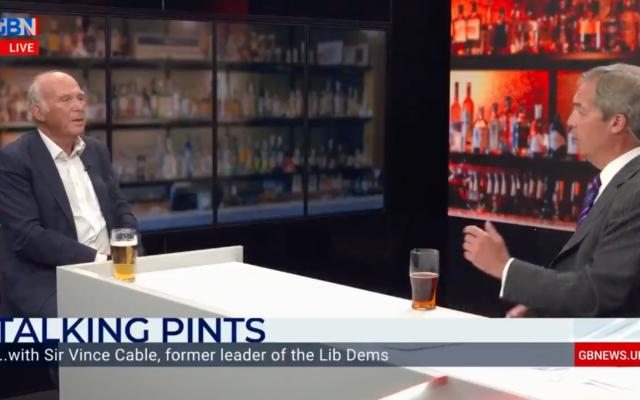 Screenshot of Vince Cable speaking to Nigel Farage about Uyghur Muslims