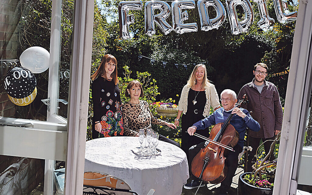 Freddie Knoller BEM photographed on his 100th birthday with his wife Freida, daughters Susie and Marcia, and grandson Nadav. Credit: Frederic Aranda
