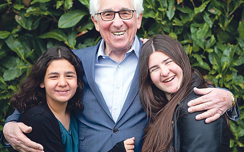Saul Erner, 86, with his granddaughters. He came to the UK with his mother and sisters aged five when the Germans invaded Belgium. His father was killed by the Gestapo. Credit: Sian Bonnell