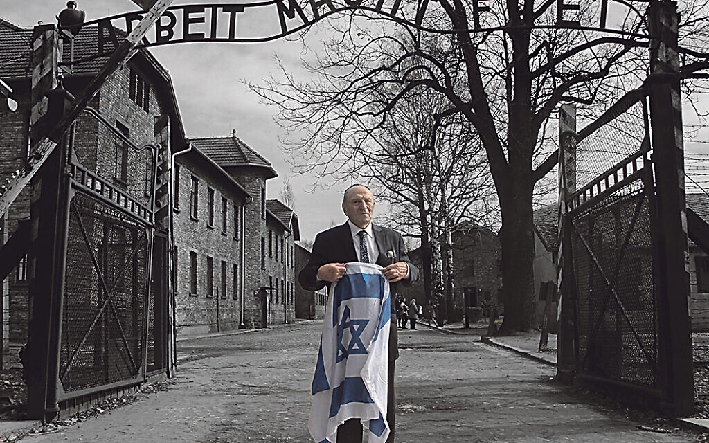 Leslie Kleinman during an Aish on Campus trip to Auschwitz in 2019 (Photo by Jake Blunenow)