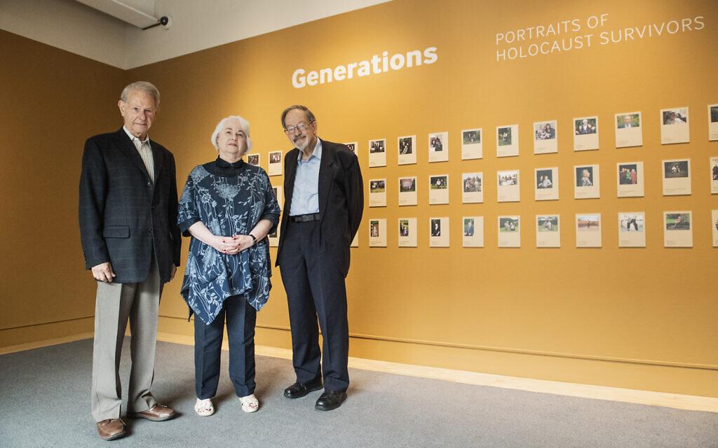 Holocaust survivors John Hajdu MBE, Joan Salter MBE and Martin Stern MBE visit the exhibition at IWM London. © IWM  - Generations: Portraits of Holocaust Survivors.
