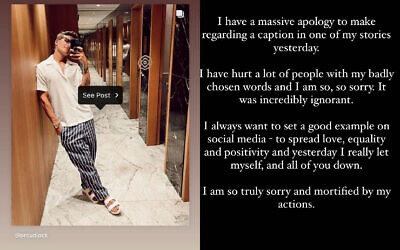 Oliver Proudlock's post, with his apology