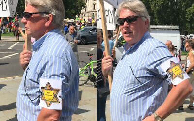 Protestor wearing a yellow-starred badge, with the words 'Not Vaccinated' on it (Credit: Lee Harpin)