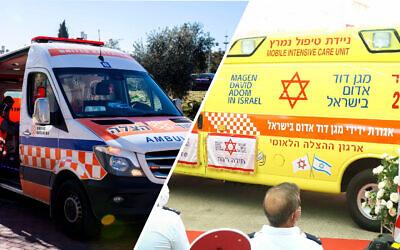 Rival organisations: ambulances operated by United Hatzalah (left) and Magen David Adom (Photos: United Hatzalah & MDA)