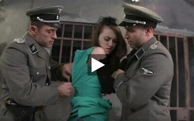 A screenshot of a porn video depicting Nazis raping a Jewish woman. (FOA)