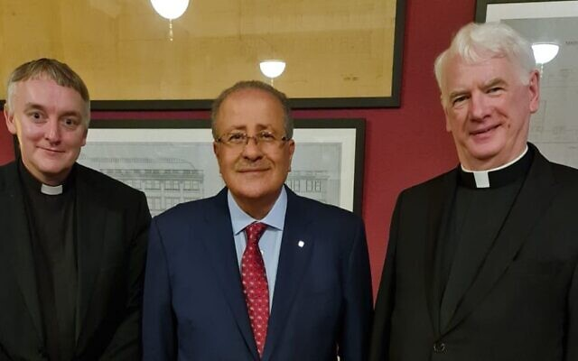 (L-R) Father Dr Edward McGee, HE Dr Mohammed Al-Hadid, Bishop Noel Treanor (Credit: Yakir Zur)