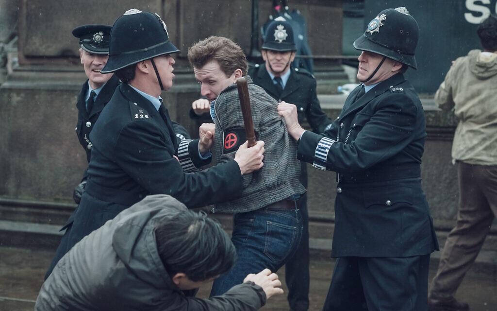 Jack Morris (Tom Varey) is led away by police. Credit: Ben Blackall