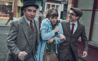 From left: Soly Malinovsky (Eddie Marsan) with Vivien Epstein (Agnes O'Casey) and Ronnie Malinovsky (Danny Sykes. Credit: Ben Blackall
