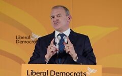 Liberal Democrat leader Sir Ed Davey giving his keynote address at One Canada Square in east London, to his party's annual Lib Dem conference which is being held virtually this year.