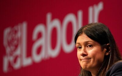 Shadow Foreign secretary Lisa Nandy speaks on stage at the Labour Party conference in Brighton. Picture date: Monday September 27, 2021.
