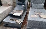 Some of the vandalized graves at the Tablada Jewish cemetery near Buenos Aires. (Courtesy of AMIA)