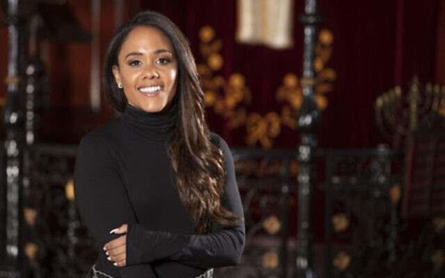 Football pundit and former footballer Alex Scott, pictured at Sandys Row Synagogue - the oldest Ashkenazi synagogue in London - discovers her Jewish roots in the new series of Who Do You Think You Are?