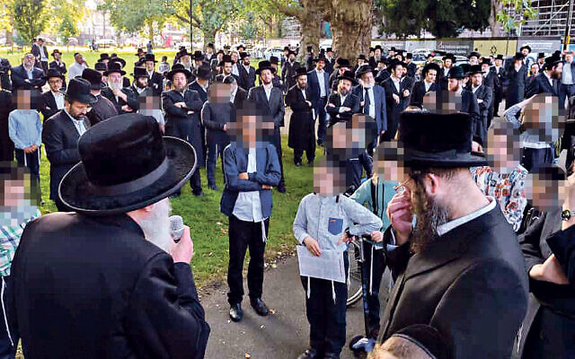 Charedi community in Stamford Hill gathered on Sunday over concerns about a lack of school places for children