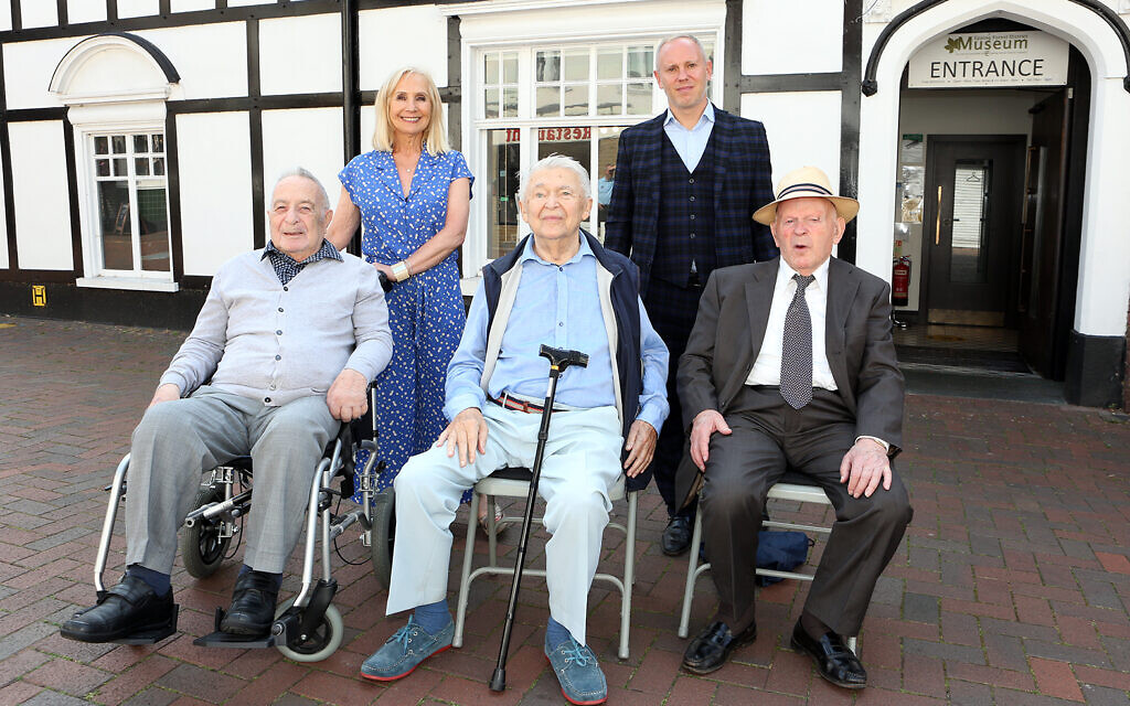 three of the original Loughton Boys, pictured outside Epping Forest District Museum (l to r): Jan Goldberger, Harry Spiro and Sir Ben Helfgott, outside the Museum with Rob Rinder MBE and Angela Cohen MBE (credit: Melissa Page)