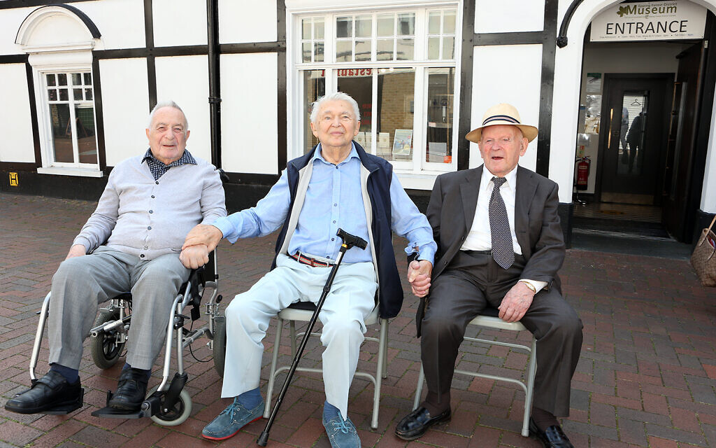 Three of the original Loughton Boys, pictured outside Epping Forest District Museum (l to r): Jan Goldberger, Harry Spiro and Sir Ben Helfgott (credit: Melissa Page)