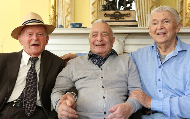 (l to r) Sir Ben Helfgott, Jan Goldberger and Harry Spiro pictured at a lunch inside Holmehurst, the original Loughton hostel, now a privately owned residence owned by Wendy and Richard Higgins, who opened up their home to a group of 80 members of the '45 Aid Society, including the 3 Loughton Boys and their families as well as other Boys and local dignitaries (credit: Melissa Page)