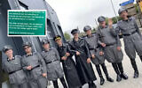 "Men wear Nazi uniforms during a COVID-19 protest in the Netherlands city of Urk, Sept. 10, 2021. (""Hart van Nederland"") via JTA"