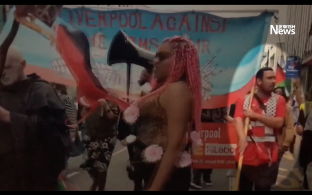 Cllr Sam Gorst (right) alongside Corbyn at the demo
