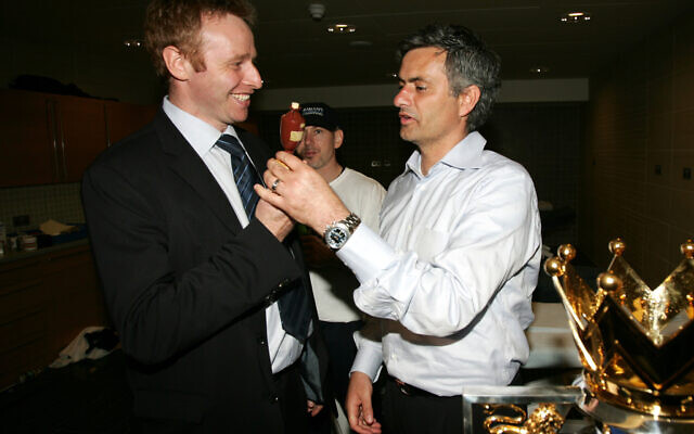 Ex Chelsea manager Jose Mourinho with Chelsea's ex Director of Communications Simon Greenberg after Chelsea had won the Premiership title, April 29, 2006. (Photo by Darren Walsh/Chelsea via Getty Images)