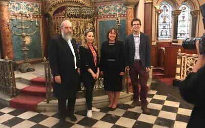 L-R Inside Middle Street Synagogue: Rabbi Rader, Claudia Mendoza of the JLC, Jo Stevens and the centre's CEO Mark Sugarman