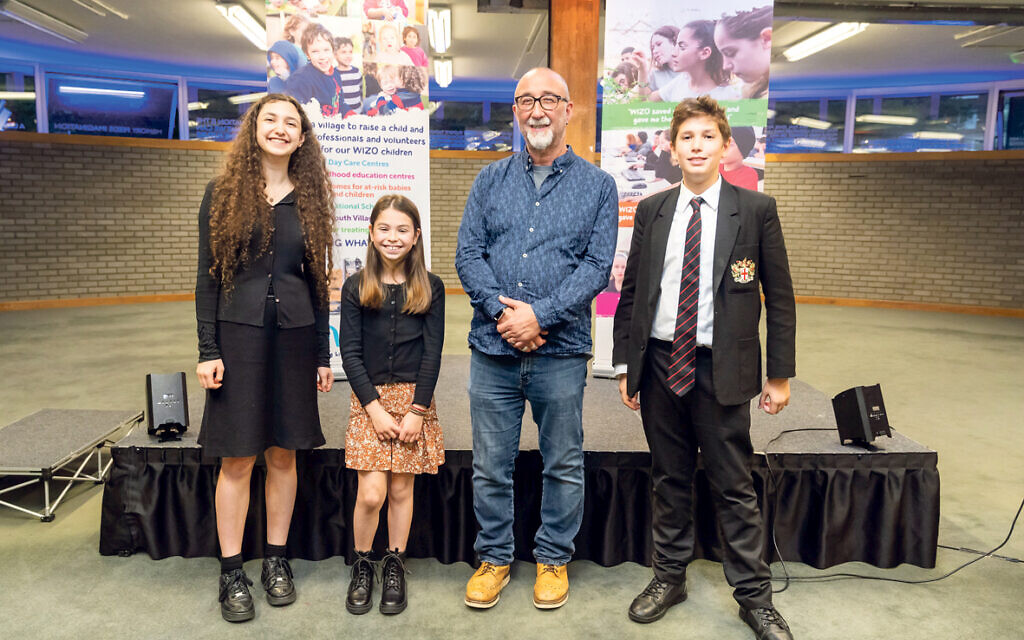 Author Ivor Baddiel with Ariella Garren (sister of Maya, winner of the secondary category), Daisy Williams and Daniel Shaw
