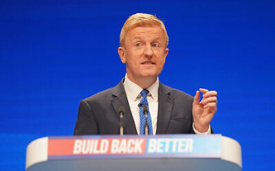 Conservative Party chairman Oliver Dowden during his speech at the Conservative Party Conference in Manchester.