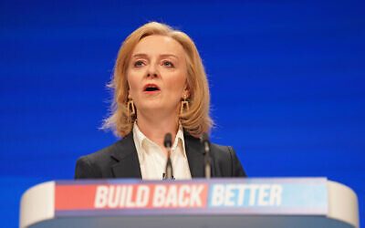 Foreign Secretary Liz Truss during her speech at the Conservative Party Conference in Manchester