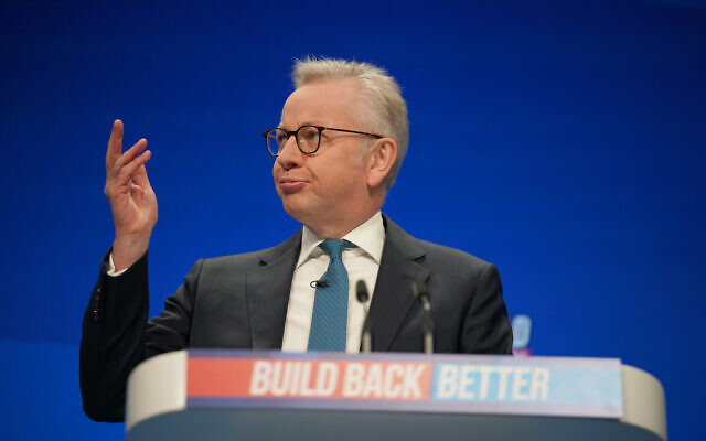 Communities Secretary Michael Gove giving his keynote address during the Conservative Party Conference in Manchester. Picture date: Monday October 4, 2021.