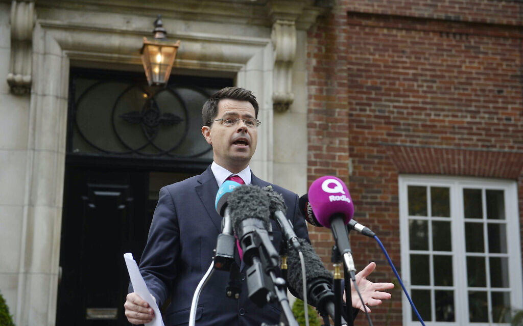 James Brokenshire speaking to the media outside Stormont House in Belfast.
