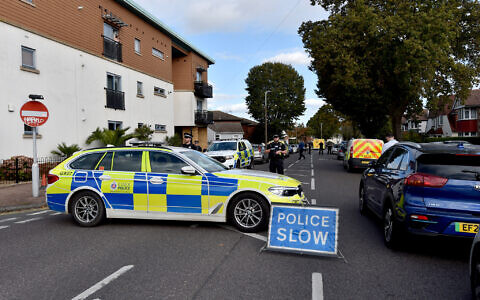 Emergency services at the scene near the Belfairs Methodist Church in Eastwood Road North, Leigh-on-Sea, Essex, where Conservative MP Sir David Amess has reportedly been stabbed several times at a constituency surgery. Essex Police have said a man has been arrested and officers are not looking for anyone else. Picture date: Friday October 15, 2021.
