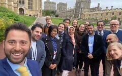 Participants and supporters of the project gather outside Windsor Castle