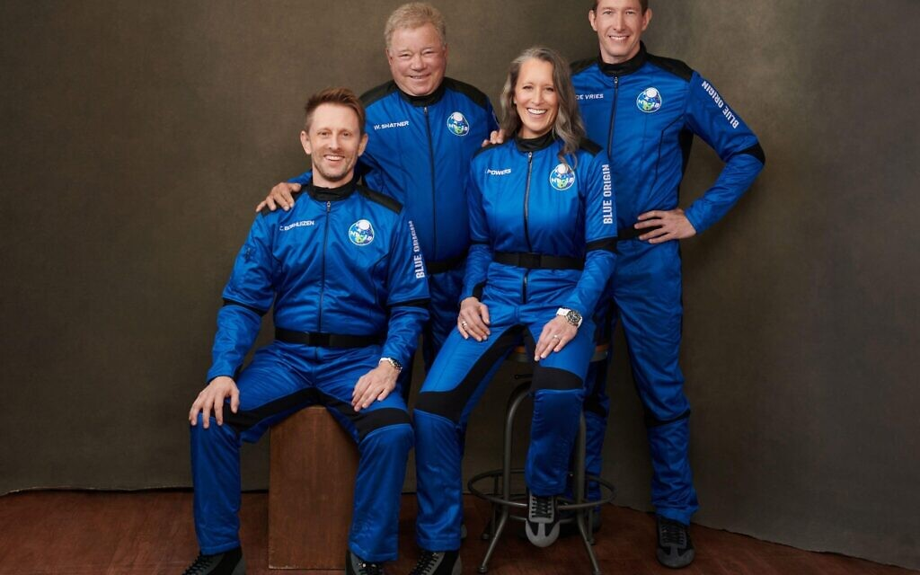 """Actor William Shatner will fly onboard New Shepard NS-18 along with Audrey Powers, Blue Origin's Vice President of Mission & Flight Operations, and crewmates Chris Boshuizen and Glen de Vries, which is scheduled to lift off from Launch Site One in Texas on October 13, 2021. Shatner, who originated the role of """"Captain James T. Kirk"""" in 1966 for the television series Star Trek, has long wanted to travel to space and will become the oldest person to have flown to space. Photo by Blue Origin/UPI Credit: UPI/Alamy Live News"""