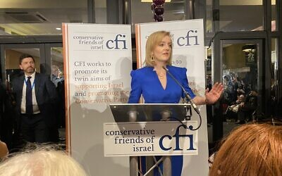 Liz Truss speaking at CFI's event at the Conservative Party Conference 2021 (Credit: Board of Deputies)