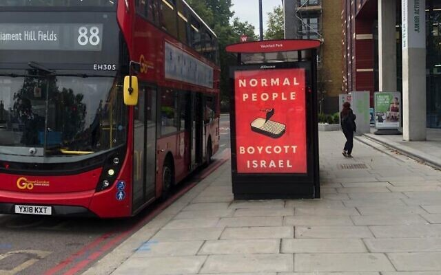 An example of the poster which appeared to be at a bus stop in Vauxhall - but officials claim it was not there when they visited (Image: Twitter)