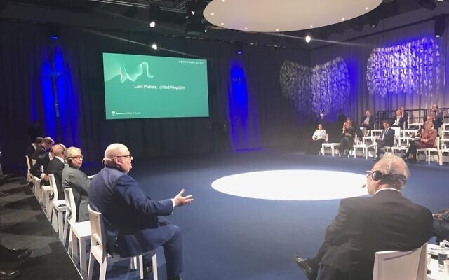 Lord Pickles speaks during the antisemitism conference in Malmo. Credit: UK In Sweden on twitter