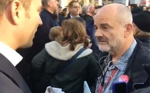 Stan Keable was filmed making the remark at a pro-Corbyn demo organised by Jewish Voice for Labour (Image:Twitter)