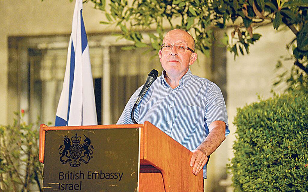 Michael Wegier speaking at a Jewish News event in Tel Aviv in 2018
