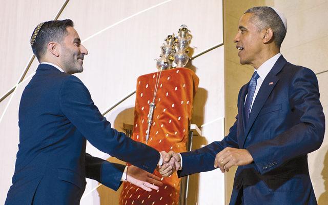 Rabbi Gil Steinlauf greets President Obama at Adas Israel Congregation in Washington on May 22.