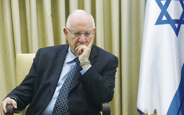 Israeli president Reuven Rivlin at the president's house in Jerusalem on May 28.